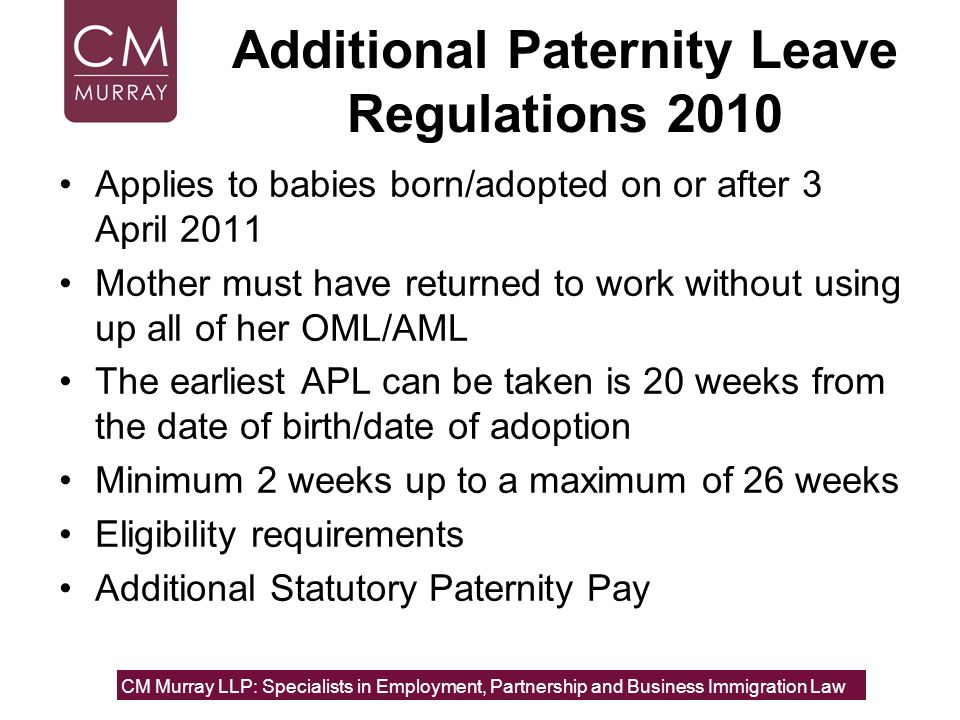 Additional Paternity Leave Regulations 2010