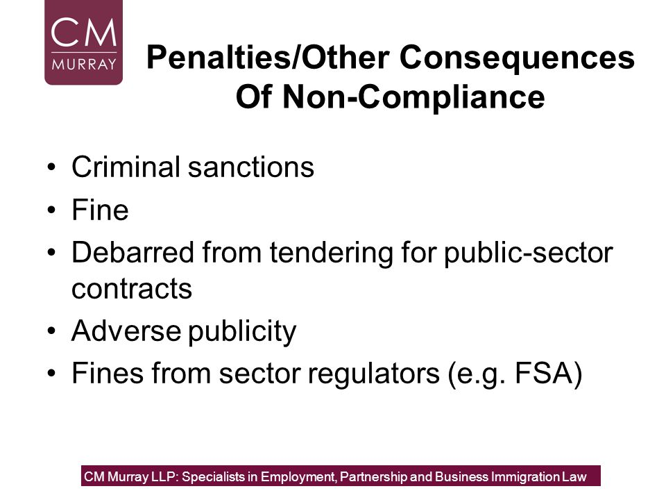 Penalties/Other Consequences Of Non-Compliance
