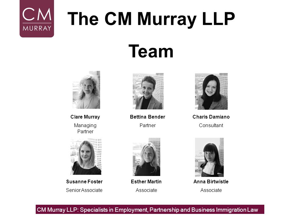 The CM Murray LLPTeam. Clare Murray. Managing Partner. Bettina Bender. Partner. Charis Damiano. Consultant.