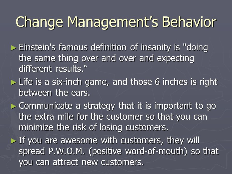 Change Management's Behavior