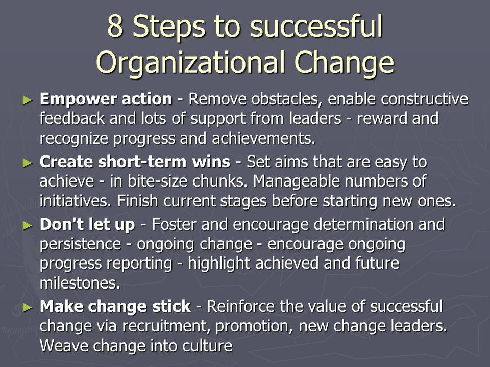 8 Steps to successful Organizational Change