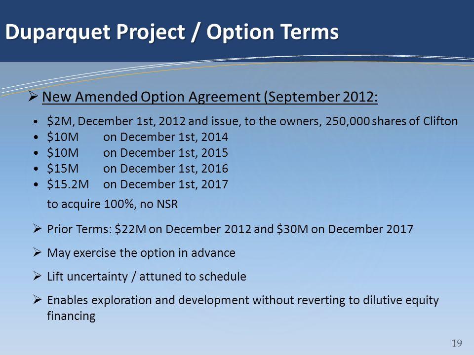 Duparquet Project / Option Terms
