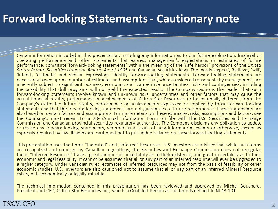 Forward looking Statements - Cautionary note