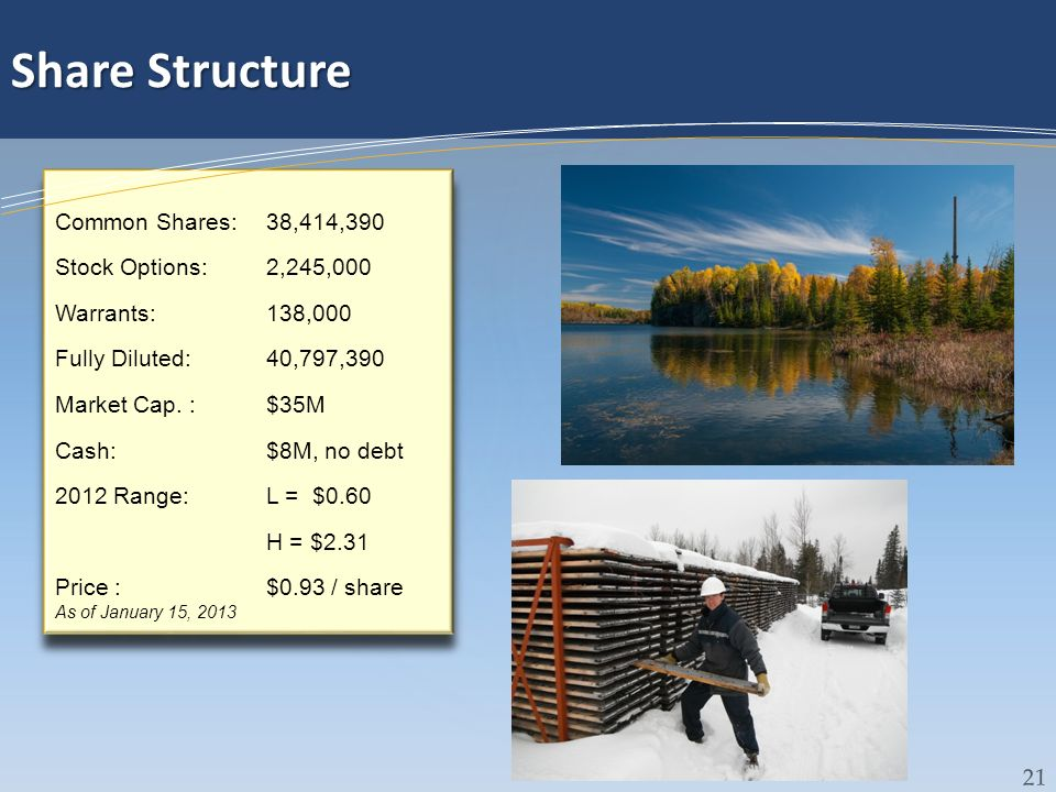 Share Structure Common Shares: 38,414,390 Stock Options: 2,245,000