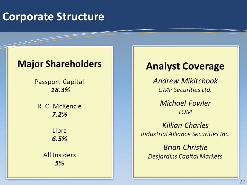 Corporate Structure Analyst Coverage Major Shareholders