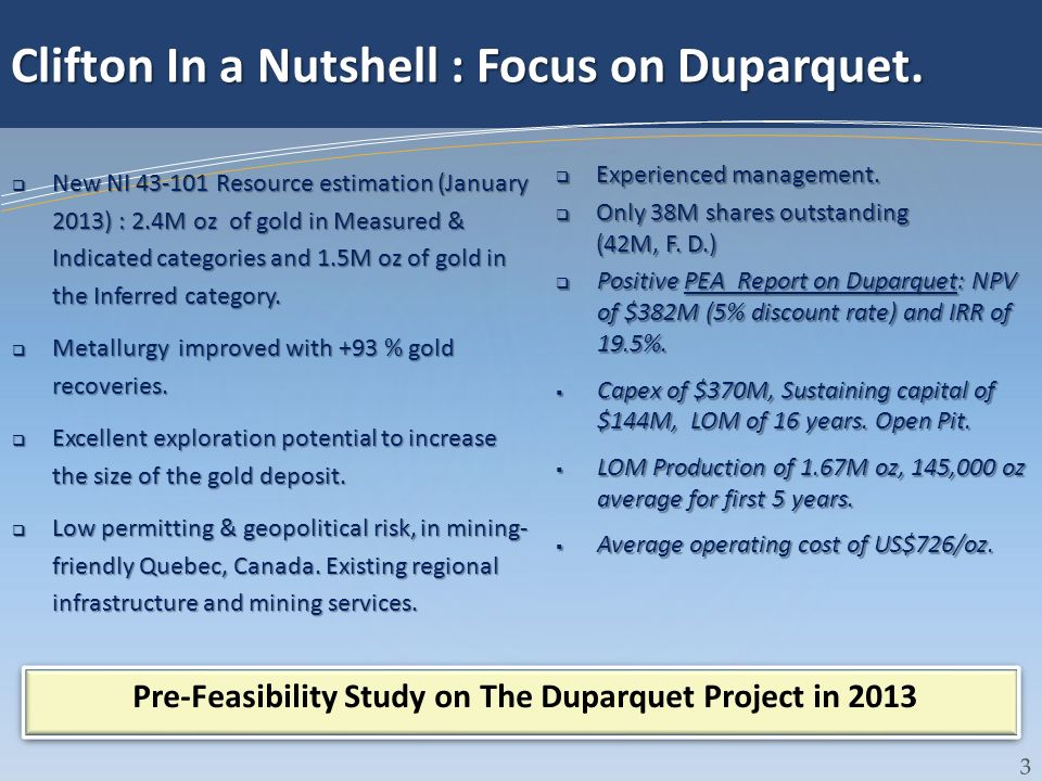 Pre-Feasibility Study on The Duparquet Project in 2013