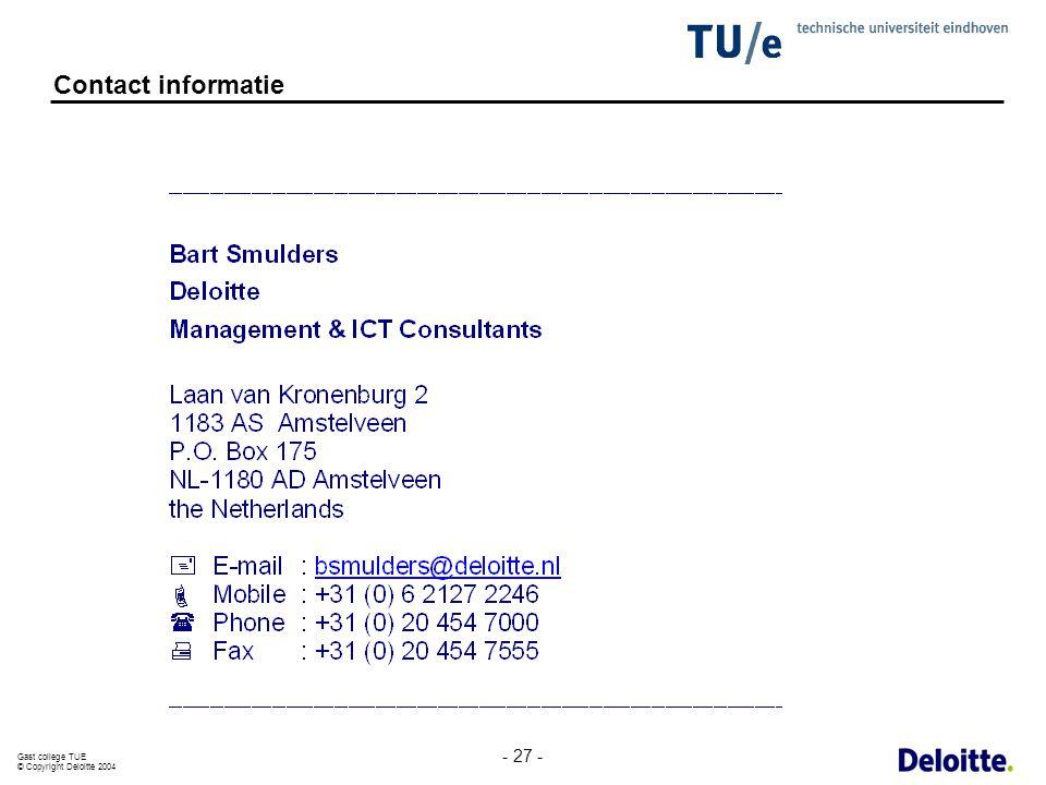 Contact informatie - 27 -