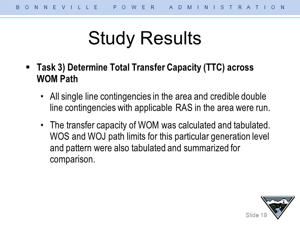 Study Results Task 3) Determine Total Transfer Capacity (TTC) across WOM Path.