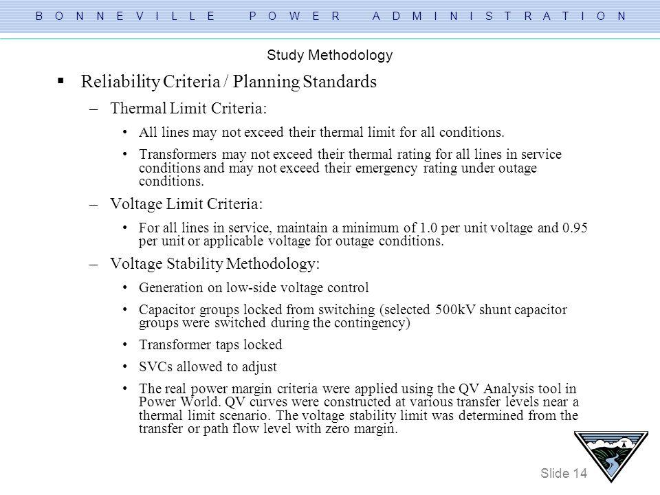Reliability Criteria / Planning Standards