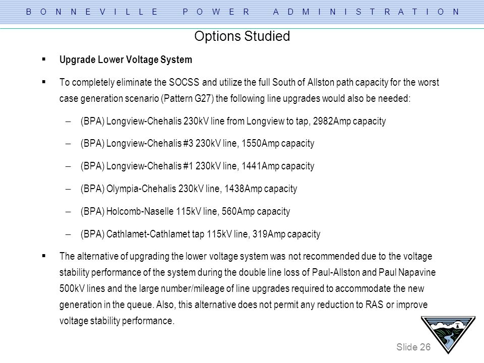 Options Studied Upgrade Lower Voltage System