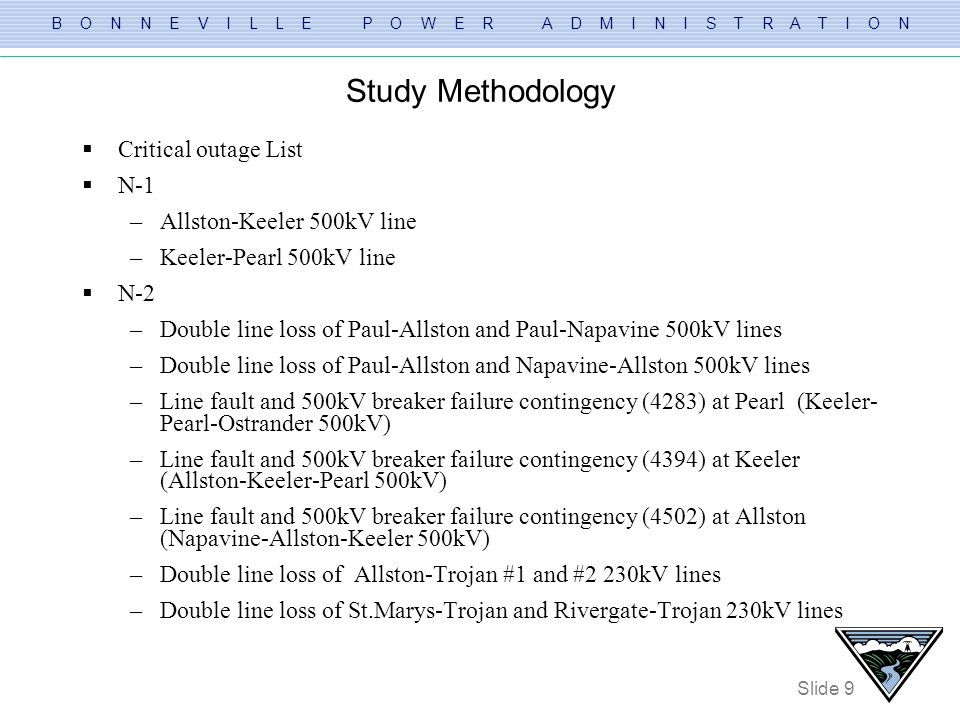 Study Methodology Critical outage List N-1 Allston-Keeler 500kV line