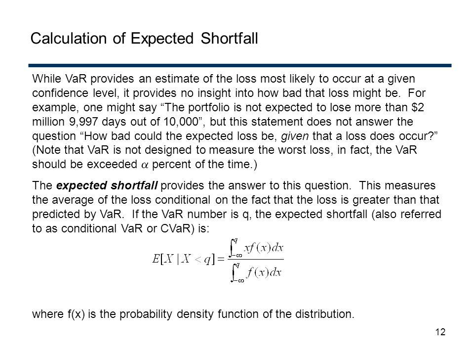 Calculation of Expected Shortfall