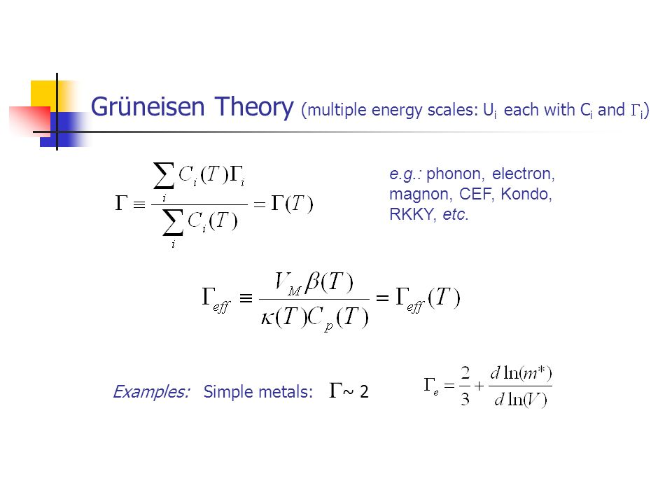Grüneisen Theory (multiple energy scales: Ui each with Ci and i)