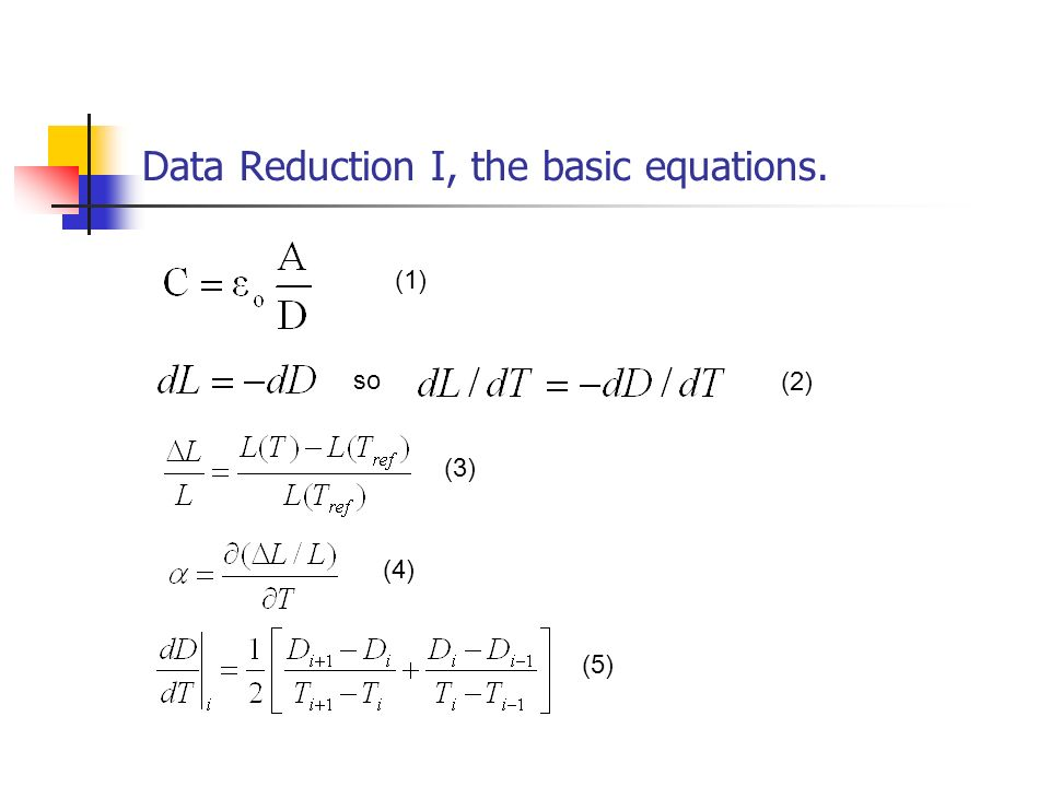 Data Reduction I, the basic equations.