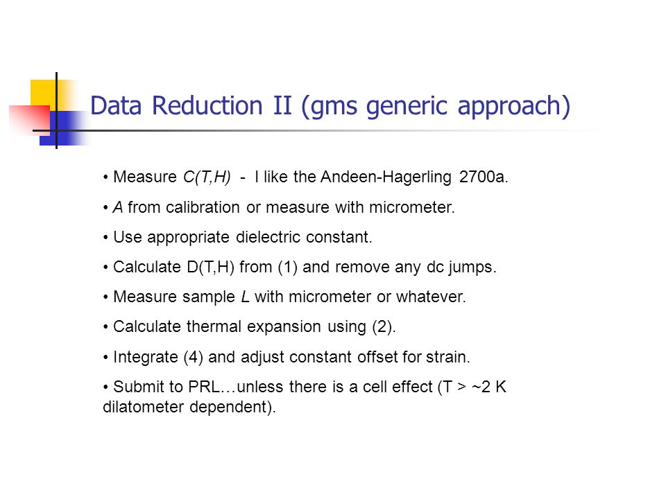 Data Reduction II (gms generic approach)