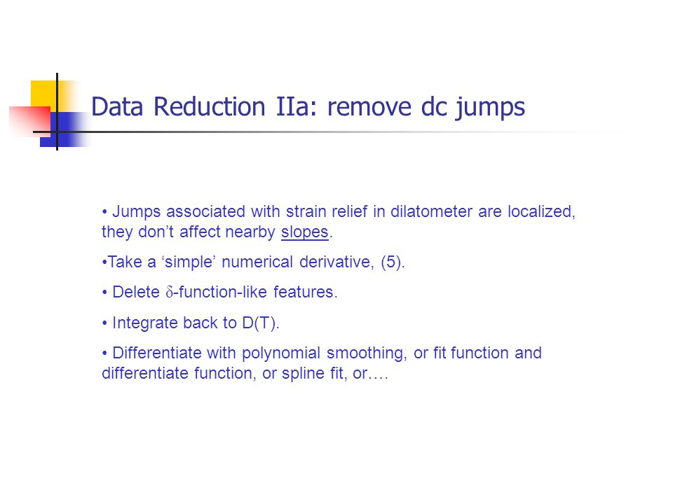Data Reduction IIa: remove dc jumps