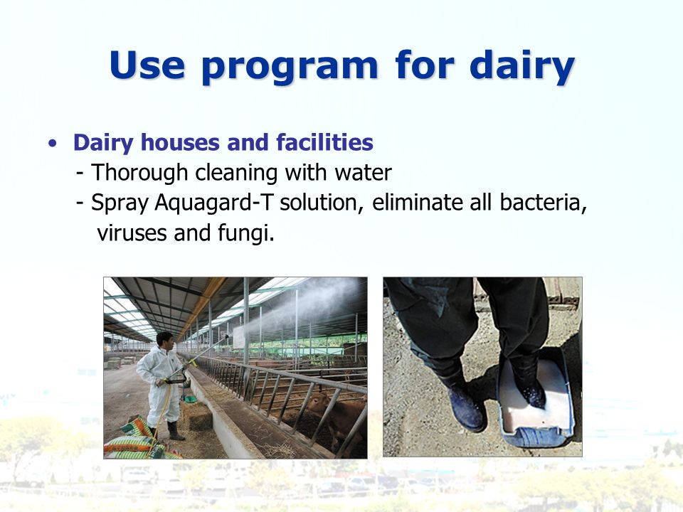 Use program for dairy Dairy houses and facilities