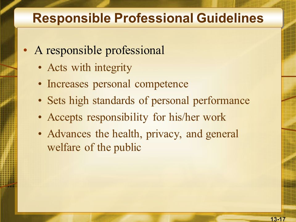 Responsible Professional Guidelines