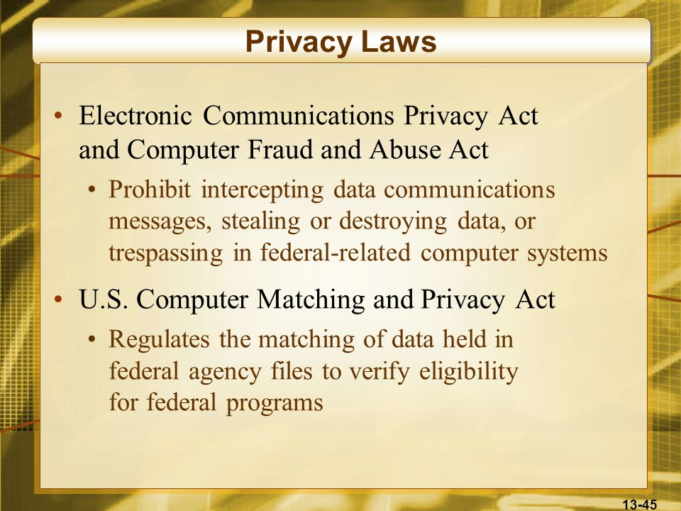 Privacy Laws Electronic Communications Privacy Act and Computer Fraud and Abuse Act.
