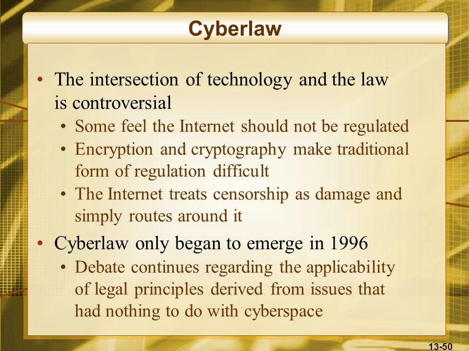 Cyberlaw The intersection of technology and the law is controversial