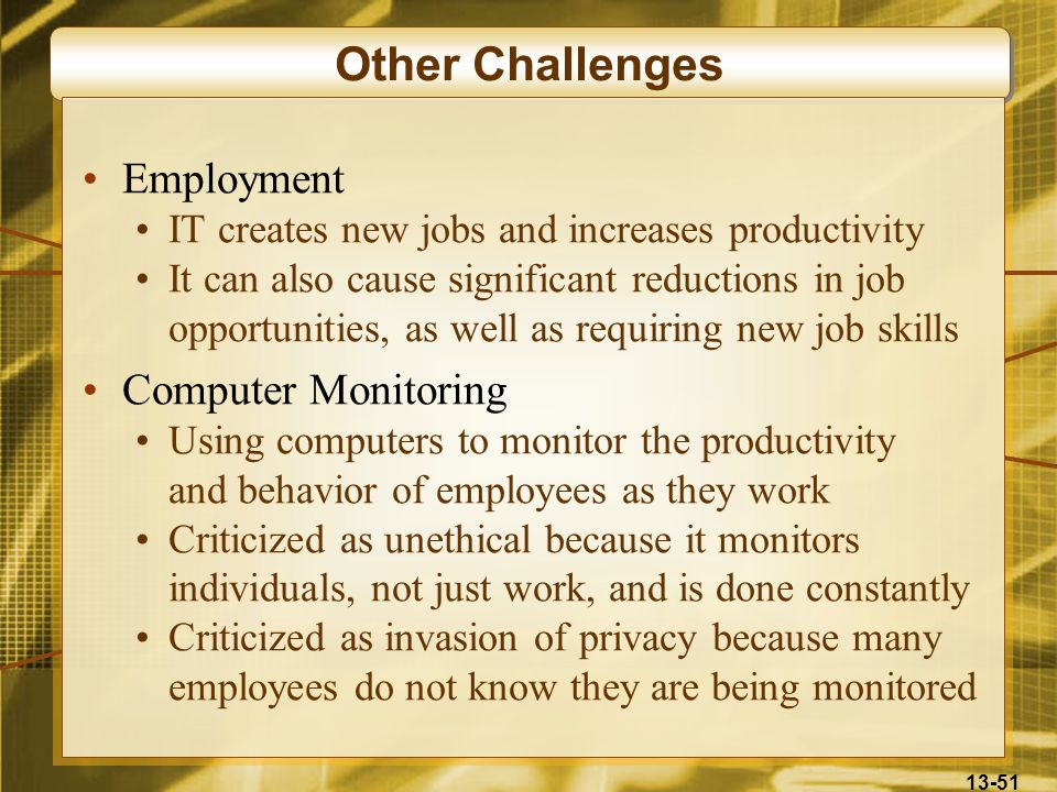 Other Challenges Employment Computer Monitoring