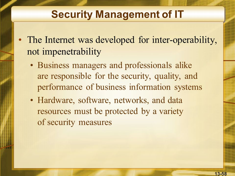 Security Management of IT