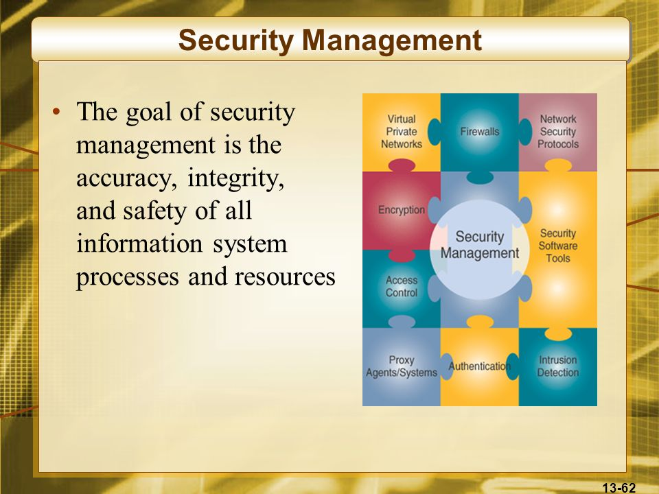 Security ManagementThe goal of security management is the accuracy, integrity, and safety of all information system processes and resources.