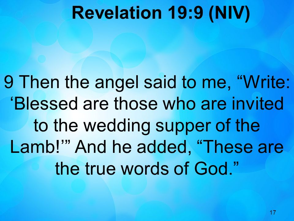 Revelation 19:9 (NIV)