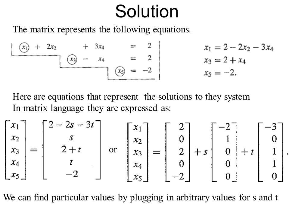 Solution The matrix represents the following equations.