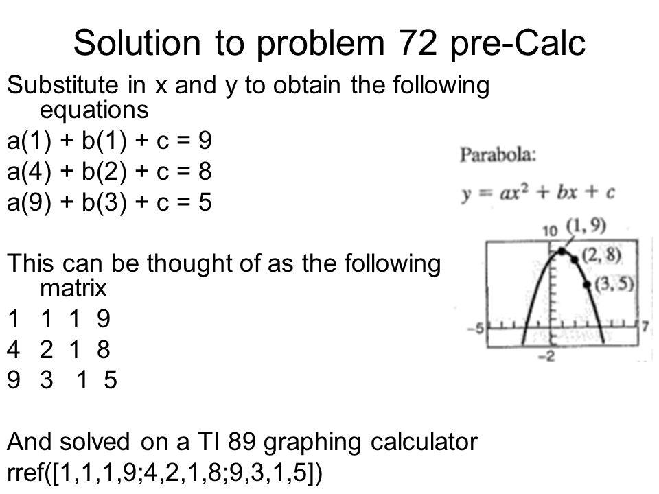 Solution to problem 72 pre-Calc