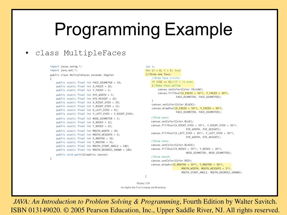 Programming Example class MultipleFaces