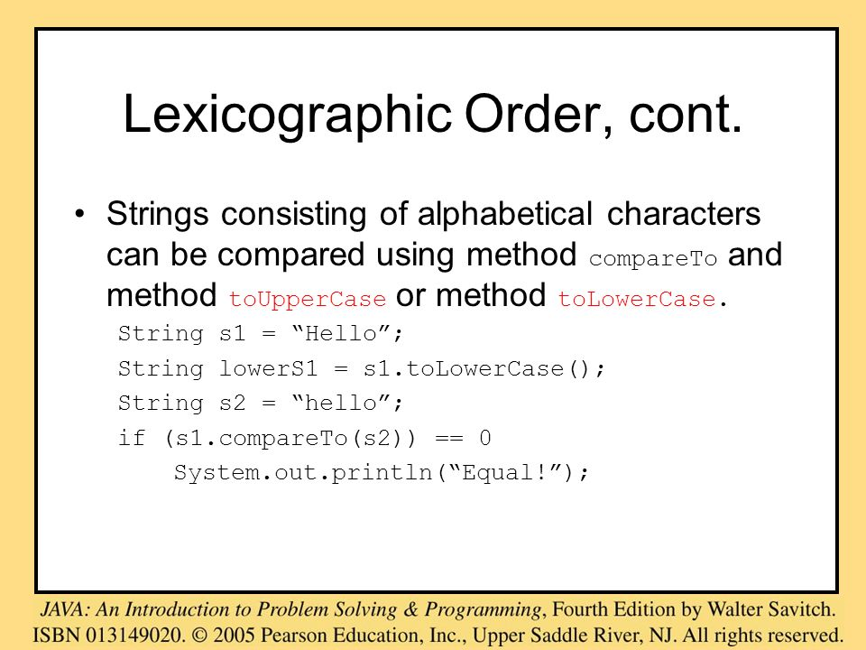 Lexicographic Order, cont.