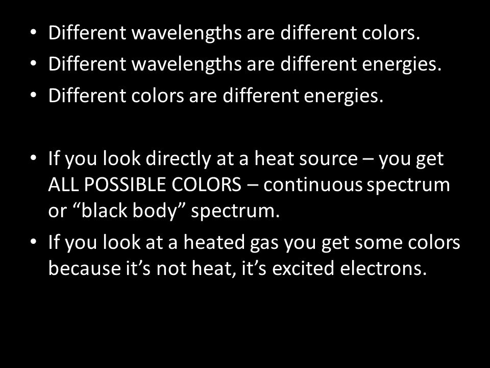 Different wavelengths are different colors.
