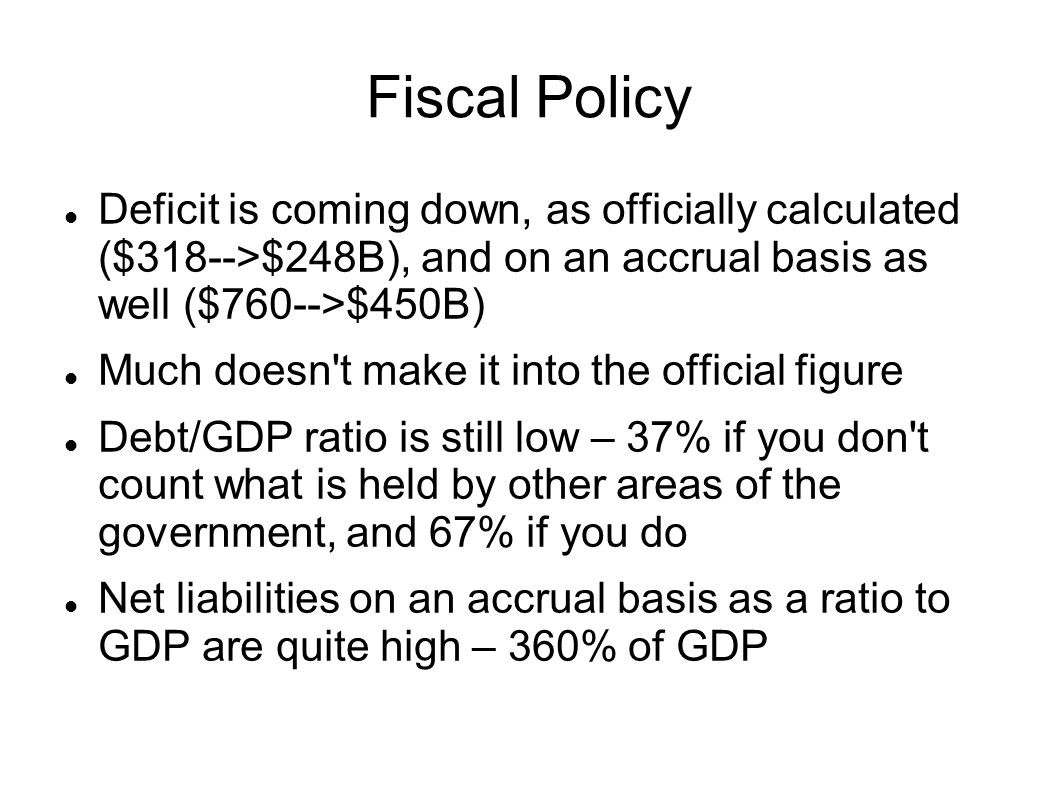 Fiscal Policy Deficit is coming down, as officially calculated ($318-->$248B), and on an accrual basis as well ($760-->$450B)‏