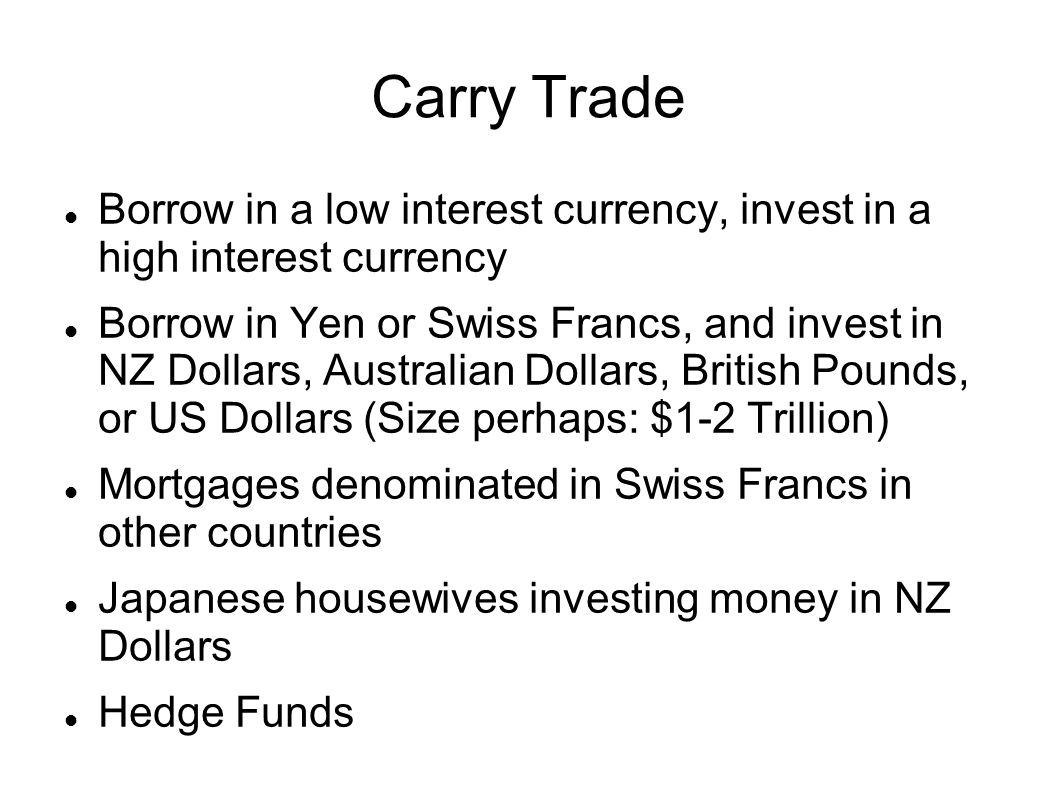 Carry Trade Borrow in a low interest currency, invest in a high interest currency.