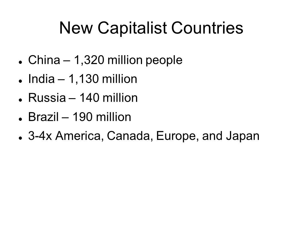New Capitalist Countries