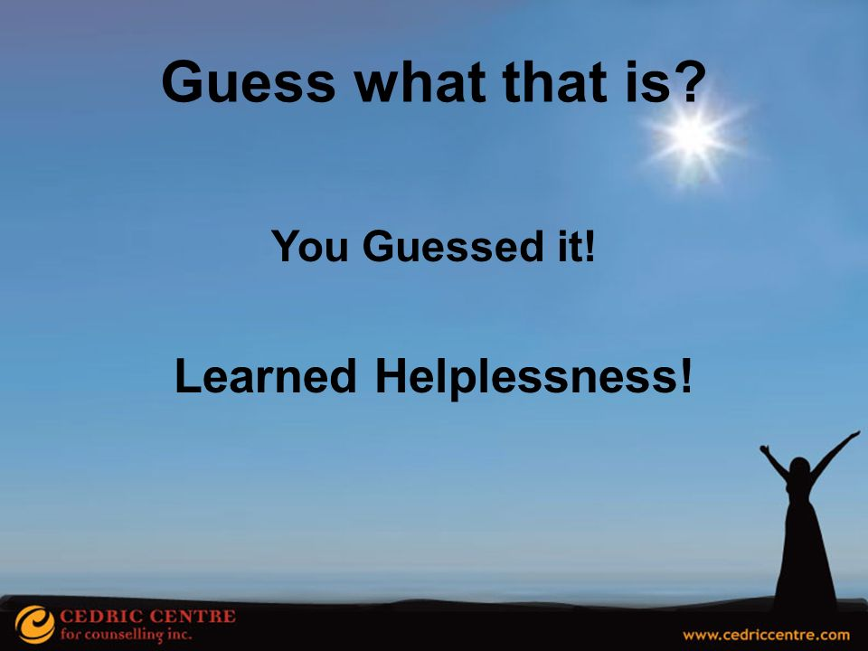Guess what that is You Guessed it! Learned Helplessness!