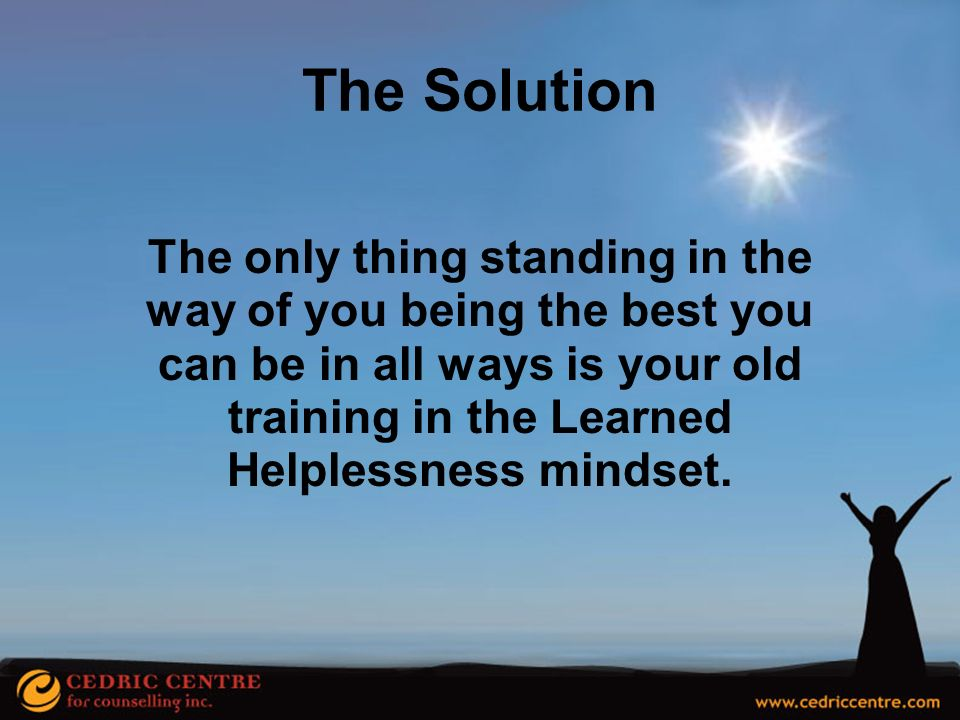 The Solution The only thing standing in the