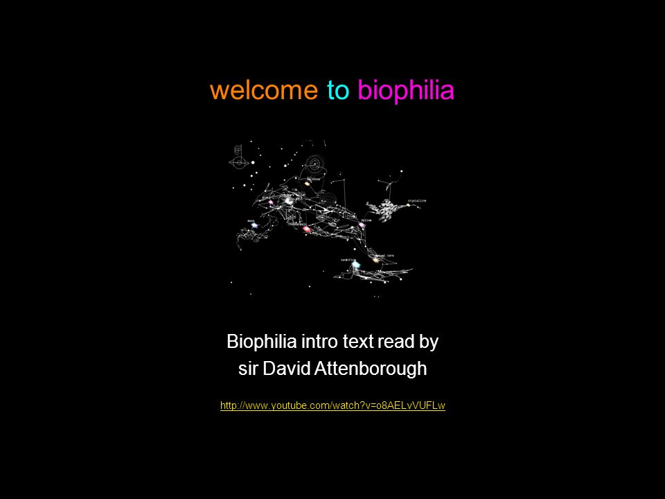 welcome to biophilia Biophilia intro text read by