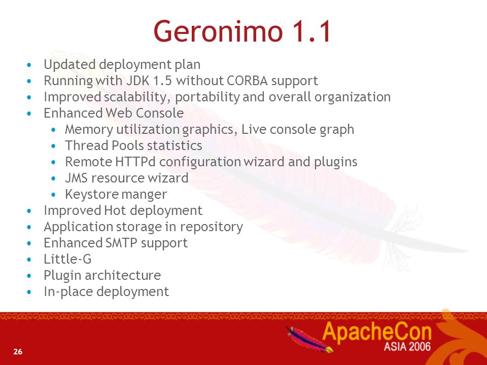 Geronimo 1.1 Updated deployment plan