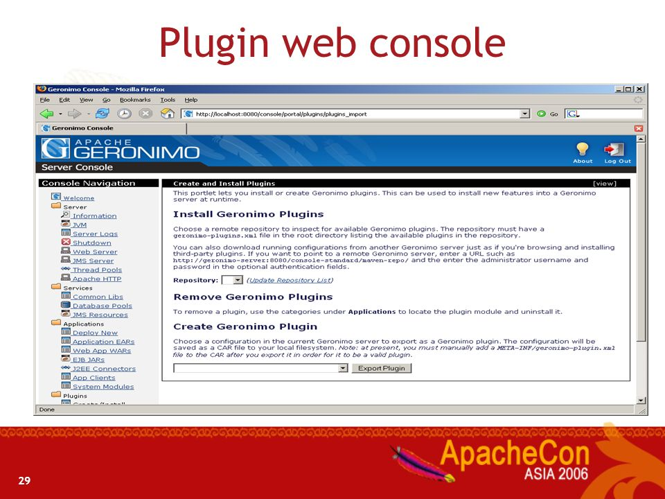Plugin web console