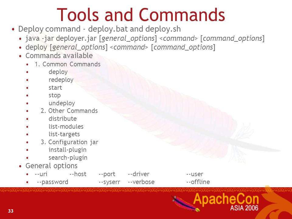 Tools and Commands Deploy command - deploy.bat and deploy.sh