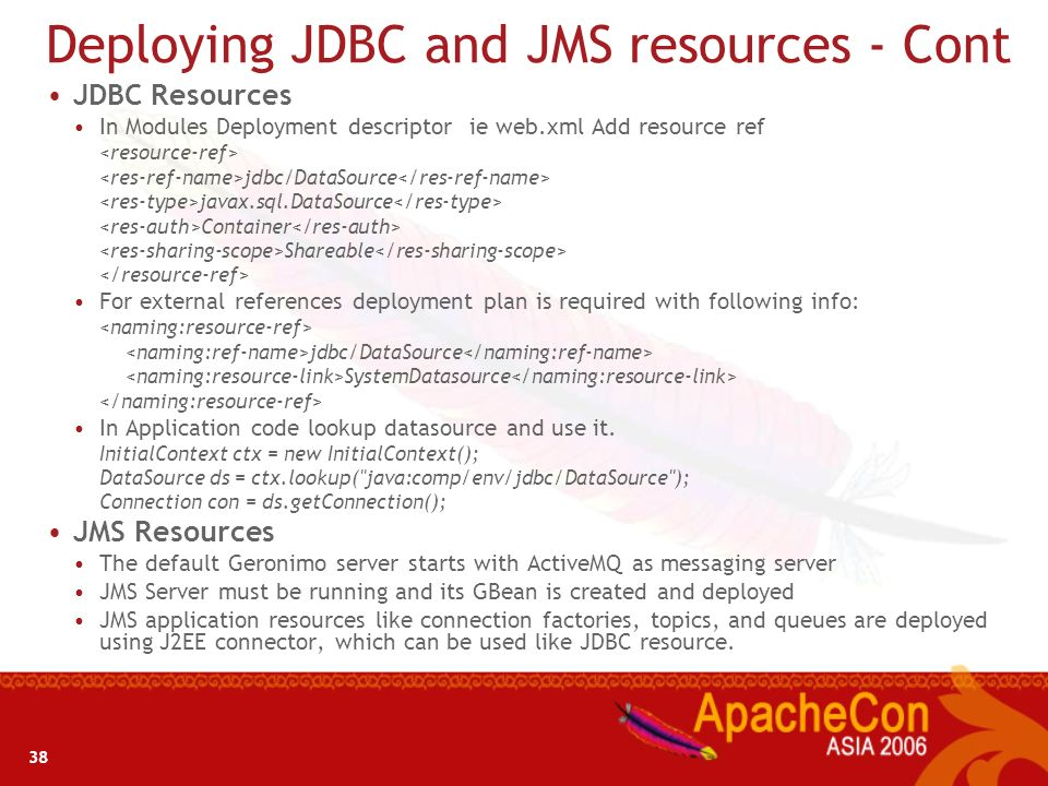 Deploying JDBC and JMS resources - Cont