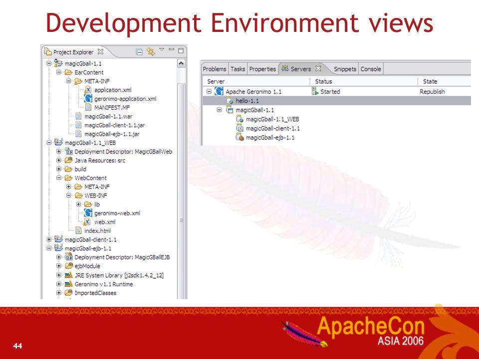 Development Environment views