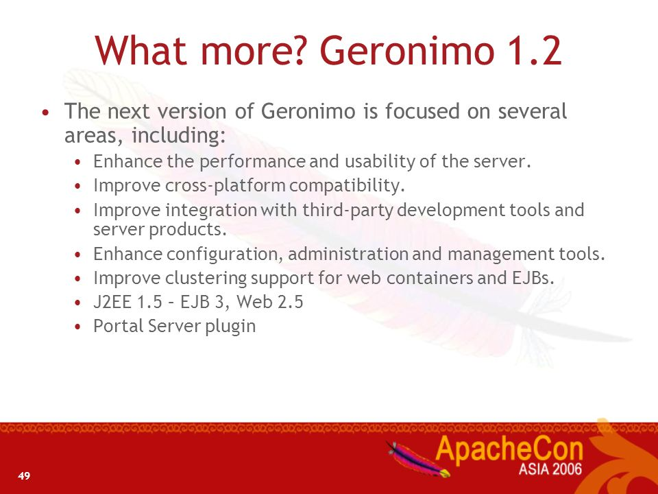 What more Geronimo 1.2 The next version of Geronimo is focused on several areas, including: Enhance the performance and usability of the server.