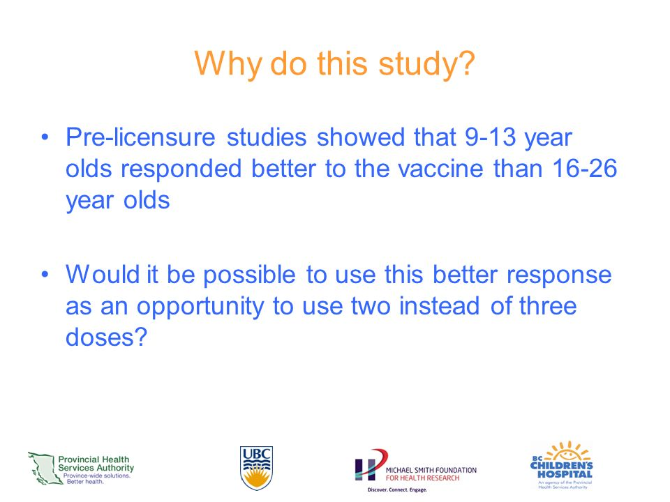 Why do this study Pre-licensure studies showed that 9-13 year olds responded better to the vaccine than year olds.
