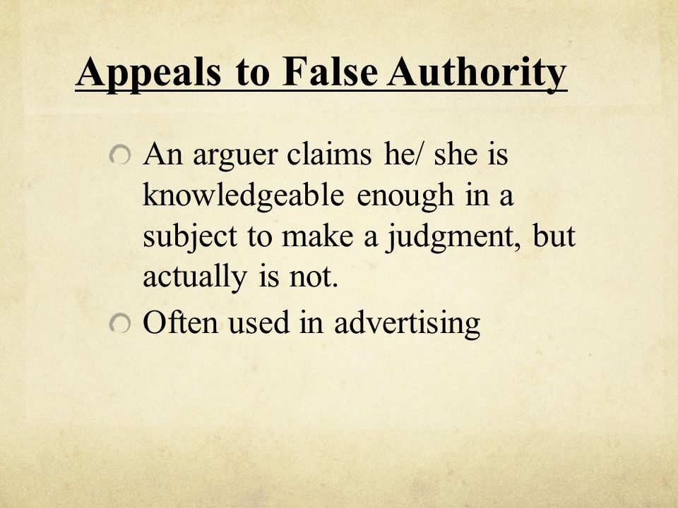 Appeals to False Authority