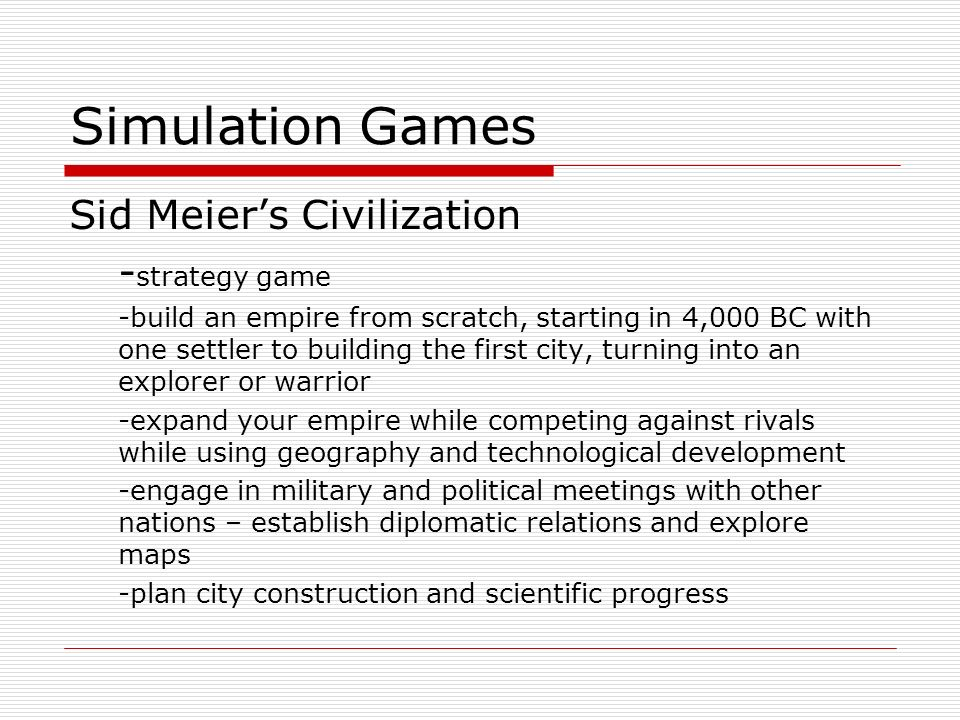 Simulation Games Sid Meier's Civilization -strategy game