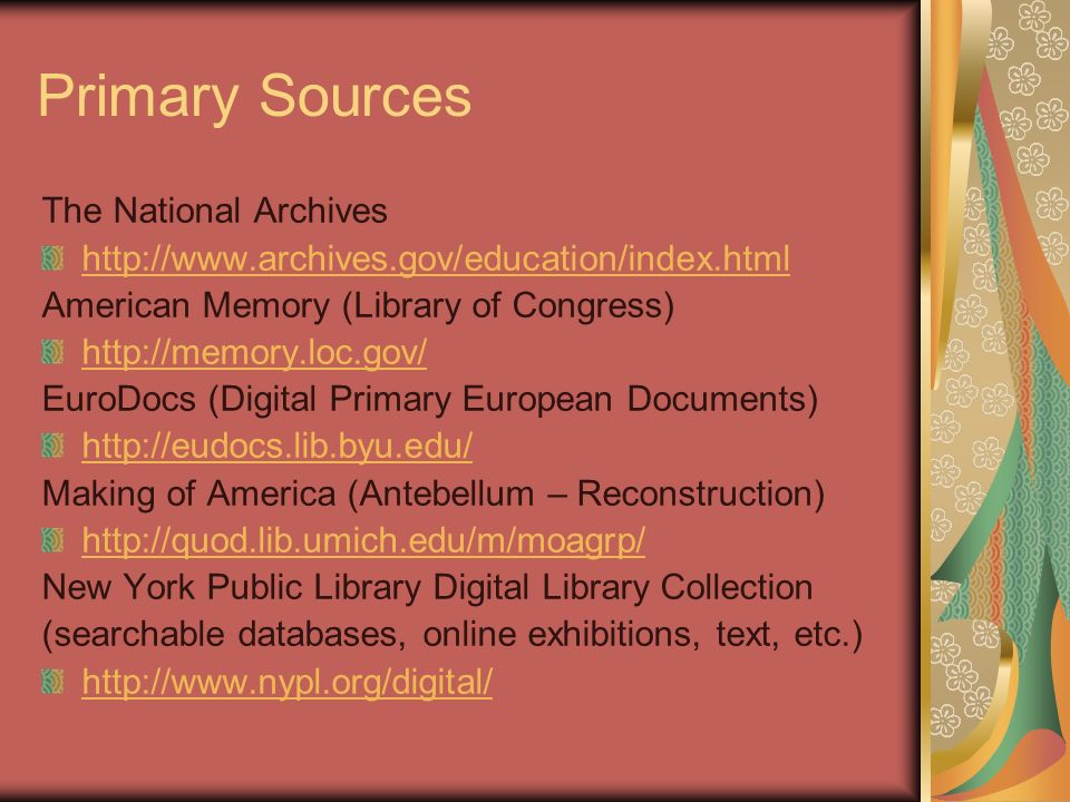 Primary Sources The National Archives