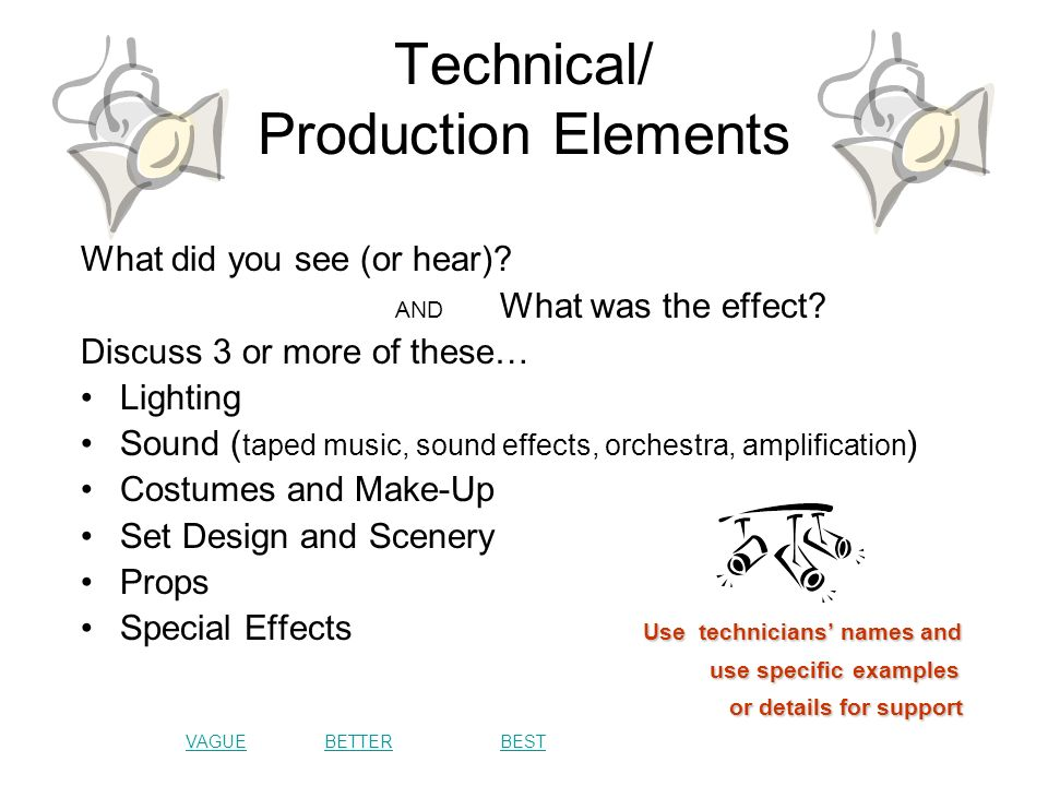 Technical/ Production Elements